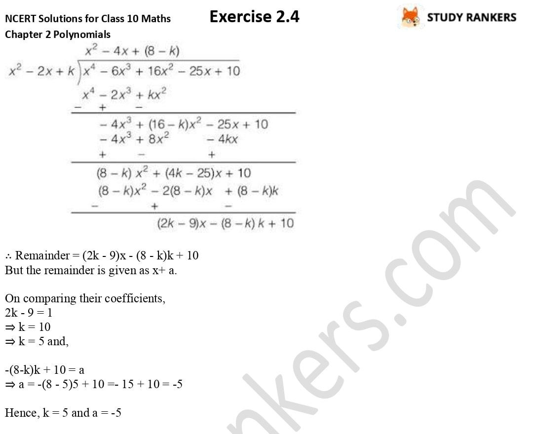 NCERT Solutions for Class 10 Maths Chapter 2 Polynomials Exercise 2.4 4