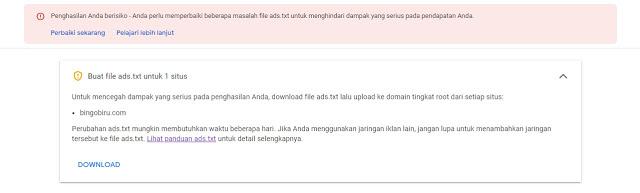 Mengatasi Masalah Ads.txt Google Adsense Blogger