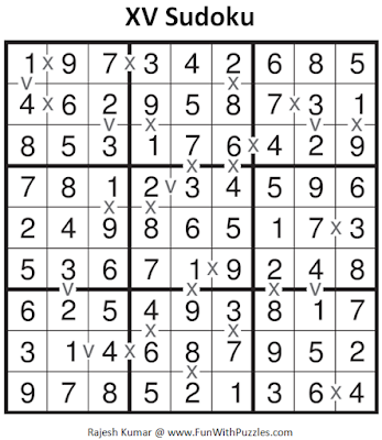 XV Sudoku (Fun With Sudoku #93) Solution