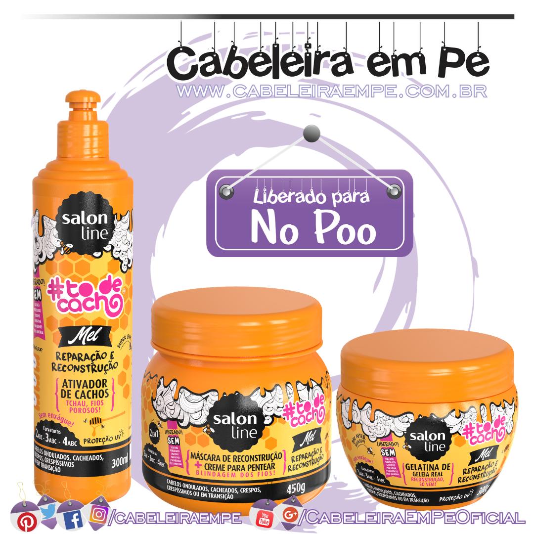 Máscara, Ativador de Cachos e Gelatina Tô de Cacho Mel - Salon Line (No Poo)