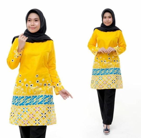 Tunik Batik Warna Kuning Sederhana