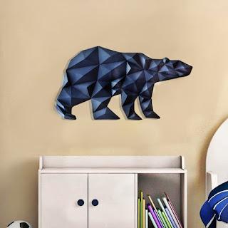 Model Beruang Dekorasi dinding kertas 3D