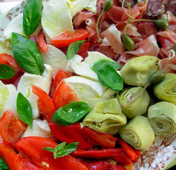 Antipasti Salad And Ciabatta Bread Rolls - Lavender Lovage