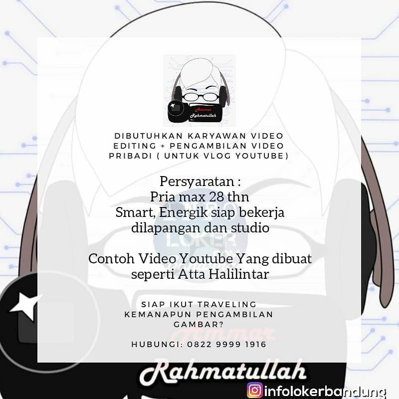 Lowongan Kerja Video Editing Amar Rahmatullah Bandung Desember 2018
