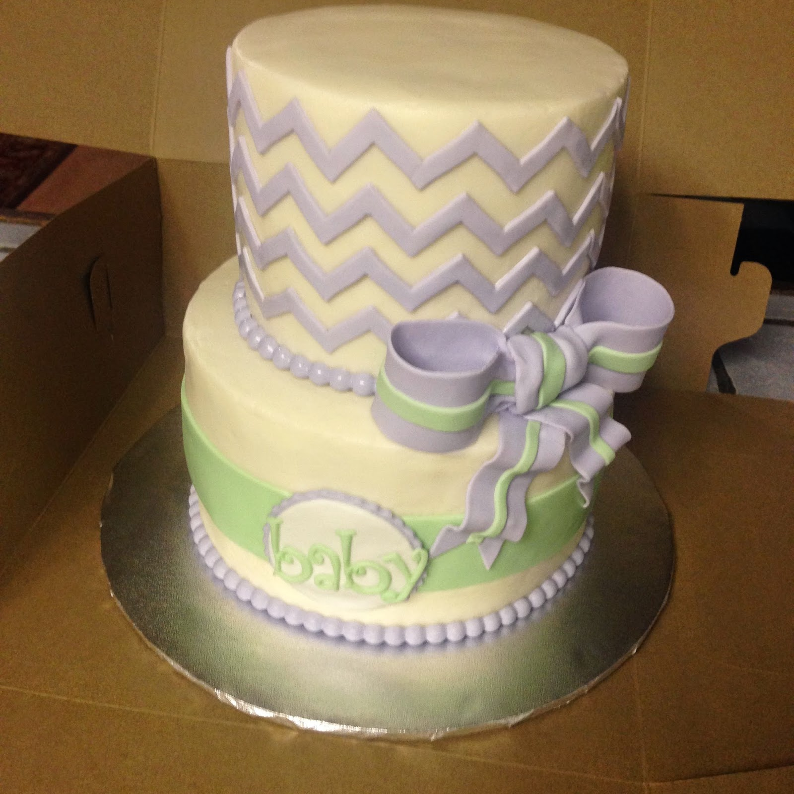 Mint Green Baby Shower Cake