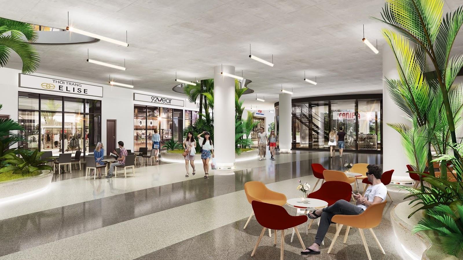 Sảnh trung tâm thương mại dự án Green Pearl