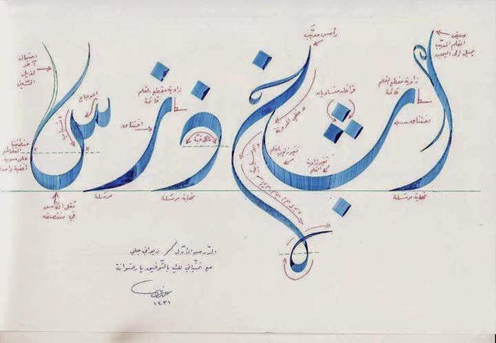 kaidah khat diwani jali (خط الديواني الجلي)berwarna tuisan Ustadz Abdul Ghani (عبد الغني الاباره)