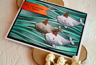 Copic Colored Ocean Background Birthday Card featuring Gerda Steiner Designs Heavy Friends