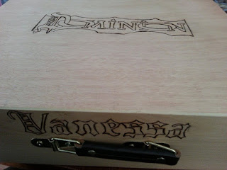 Dominion Box with woodburned logo and my name