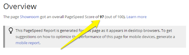 google pagespeed score