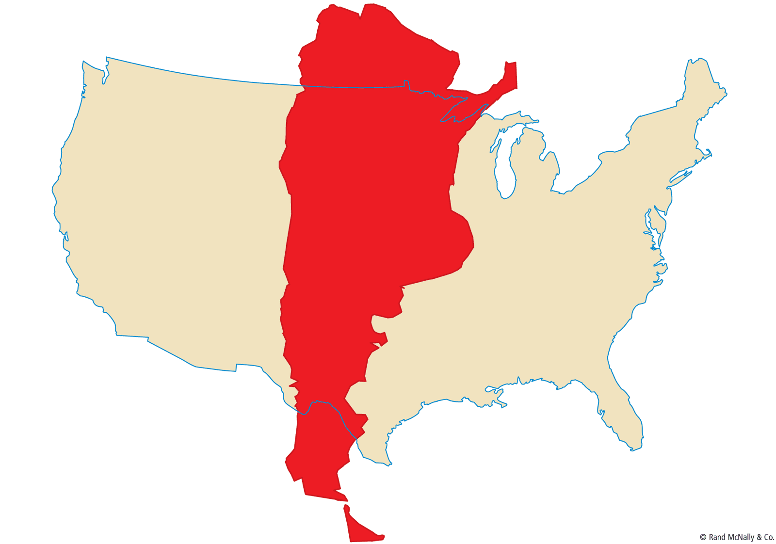 how big is argentina compared to the us