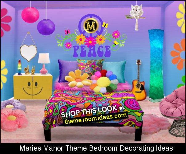Peace and Love Comforter Lava Lamps Smiley Face  decor  70s bedroom decor