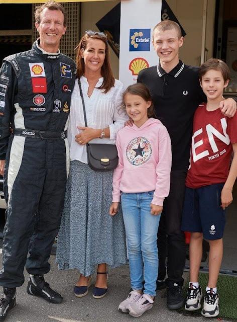 Princess Marie wore Rayana blue wedges by Minelli. Celine bag. Prince Henrik, Princess Athena and Prince Felix