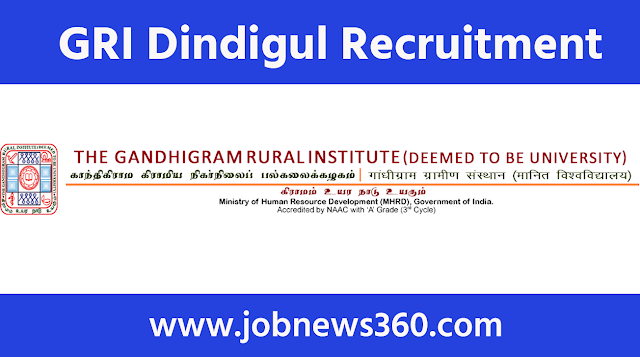 GRI Dindigul Recruitment 2020 for DEO, Research Assistant & Research Officer