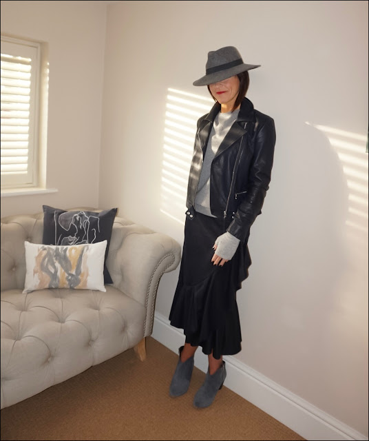 My Midlife Fashion, Massimo Dutti navy leather biker jacket, h&M cashmere mix sweatshirt jumper, H&M fingerless gloves, zara felt fedora hat, zara frilled skirt, hush thornton ankle boots