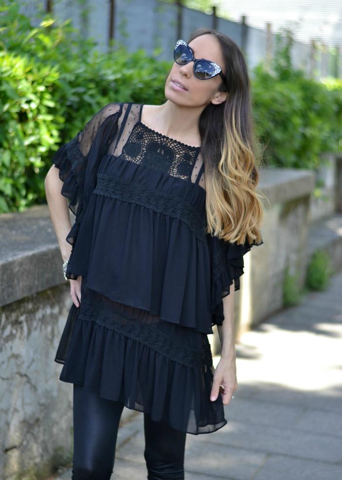 mini dress nero volant