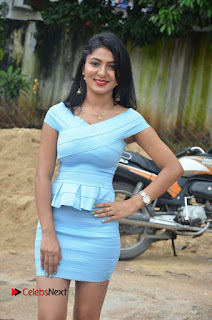 Actress Ankitha Jadhav Pictures in Blue Short Dress at Cottage Craft Mela 0001.jpg