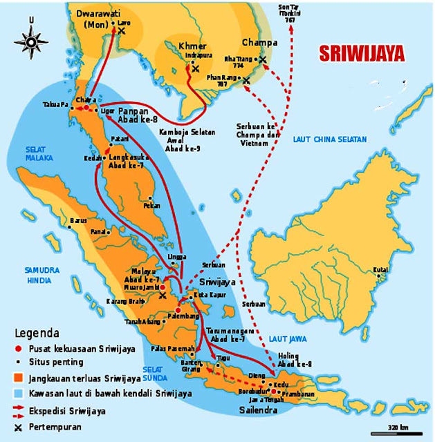 Gambar Peta wilayah Kerajaan Sriwijaya