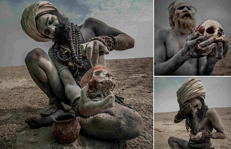 Pictures show life inside sect where men drink from skulls and eat human flesh