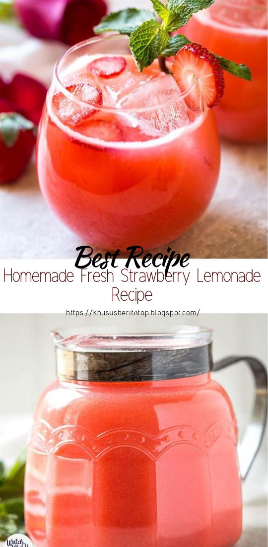 Homemade Fresh Strawberry Lemonade Recipe #healthydrink #easyrecipe #cocktail #smoothie