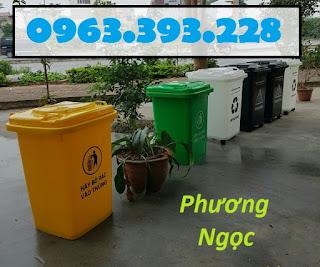Thùng rác y tế 60 lít nắp kín, thùng phân loại rác y tế có bánh xe, thùng rác nhựa HDPE