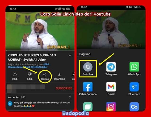 cara mendapatkan link video dari youtube