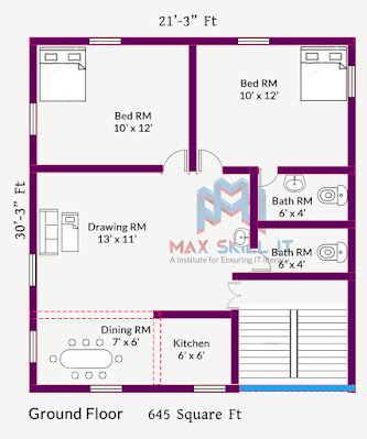 645 square ft house plan design | 2bhk house plan design