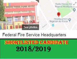 2018/2019 Nigeria Federal Fire Service Shortlisted Candidates