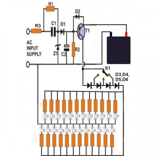 Emergency Lighting Using White Leds Circuit Diagram