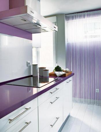 reforma de cocina en color lavanda