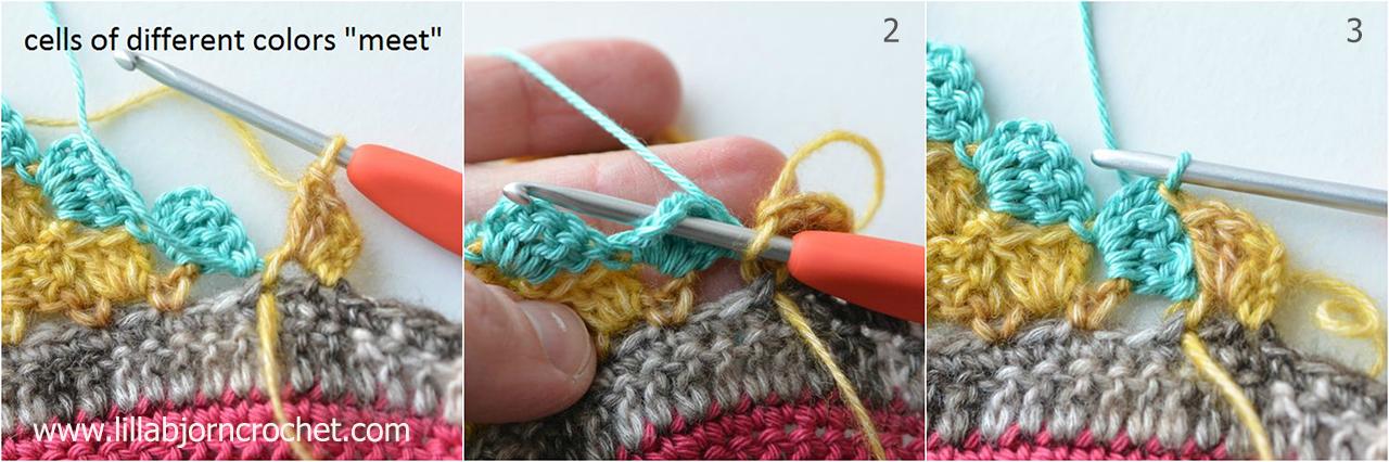 Change of colors in C2C crochet