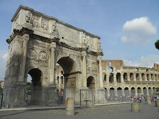 The Arch of Constantine can be found close to the Colosseum in the centre of Rome