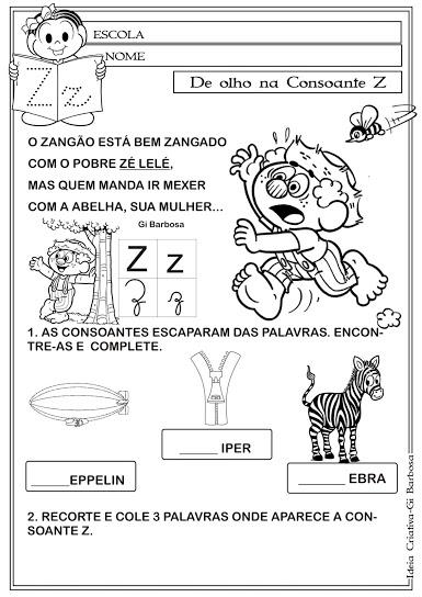 Atividades Letras do Alfabeto com texto  Turma da Mônica