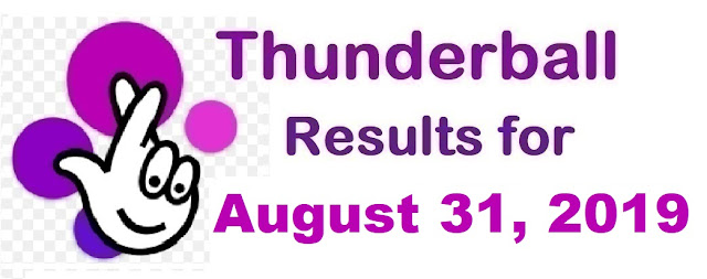 Thunderball results for Saturday, August 31, 2019