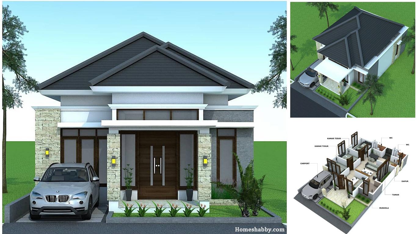Desain Dan Denah Rumah Minimalis Elegan Dengan Atap Limasan Ukuran