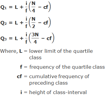 "Q1 = L + ""i"" /""f""  (""N"" /""4""  "" – cf"" )  	Q2 = L + ""i"" /""f""  (""N"" /""2""  "" – cf"" ) Q3 = L + ""i"" /""f""  (""3N"" /""4""  "" – cf"" ) Where, L = lower limit of the quartile class    f = frequency of the quartile class           cf = cumulative frequency of preceding class    i = height of class-interval"