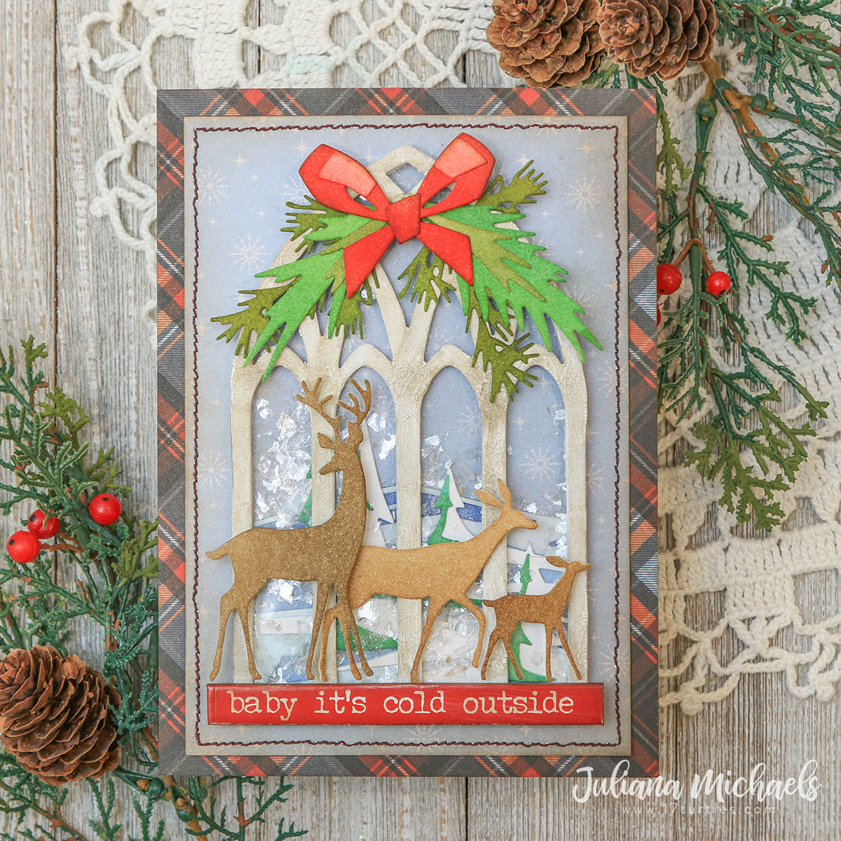Baby It's Cold Outside Christmas Shaker Card | Tim Holtz Sizzix Chapter 4 -  17turtles