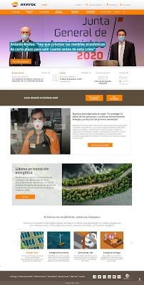 Portada de la web de Repsol