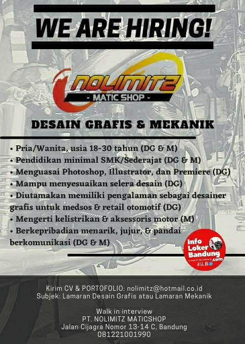 Lowongan Kerja  PT. Nolimitz Maticshop Bandung Januari 2021