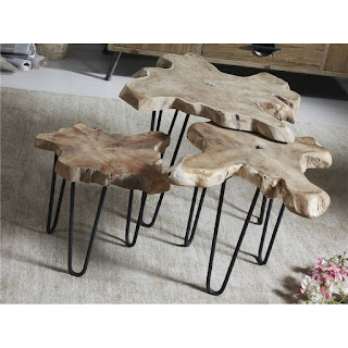 mesa tronco de teca