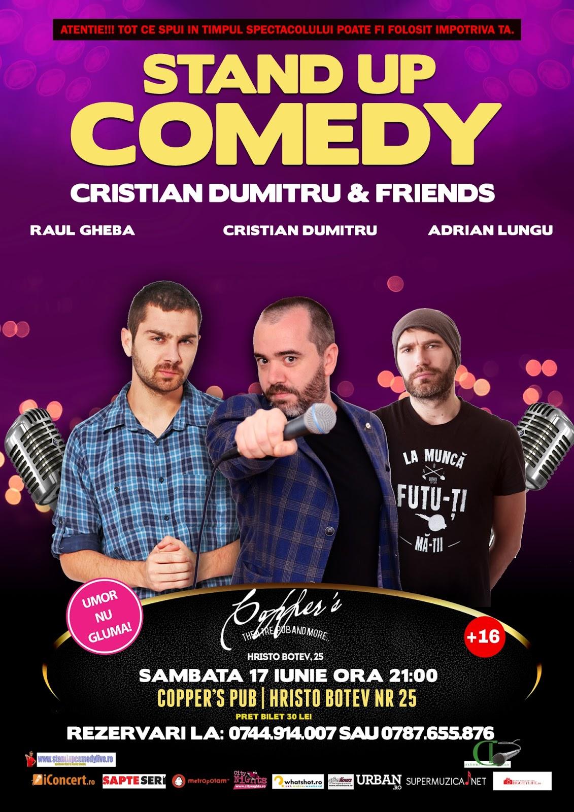 Stand-Up Comedy Sambata 17 Iunie Bucuresti ora 21