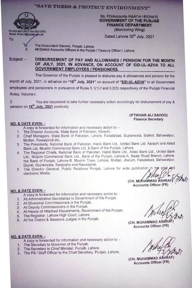 ADVANCE DISBURSEMENT OF PAY & ALLOWANCES AND PENSION FOR THE MONTH OF JULY, 2021 ON THE OCCASSION OF EID-UL-AZHA