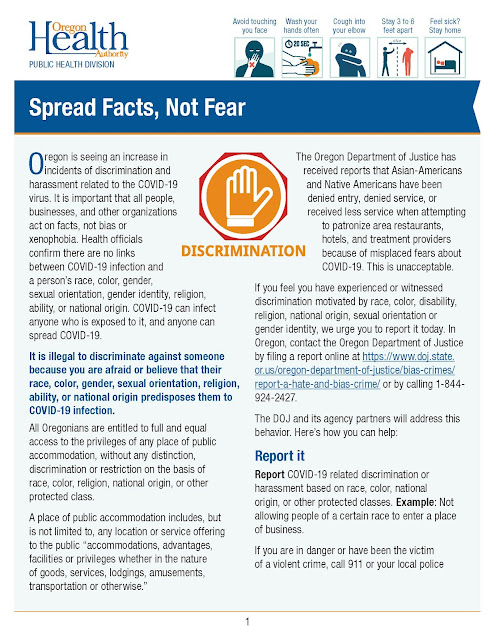 page 1 of 2 Oregon Health Authority graphic about COVID 19 discrimination