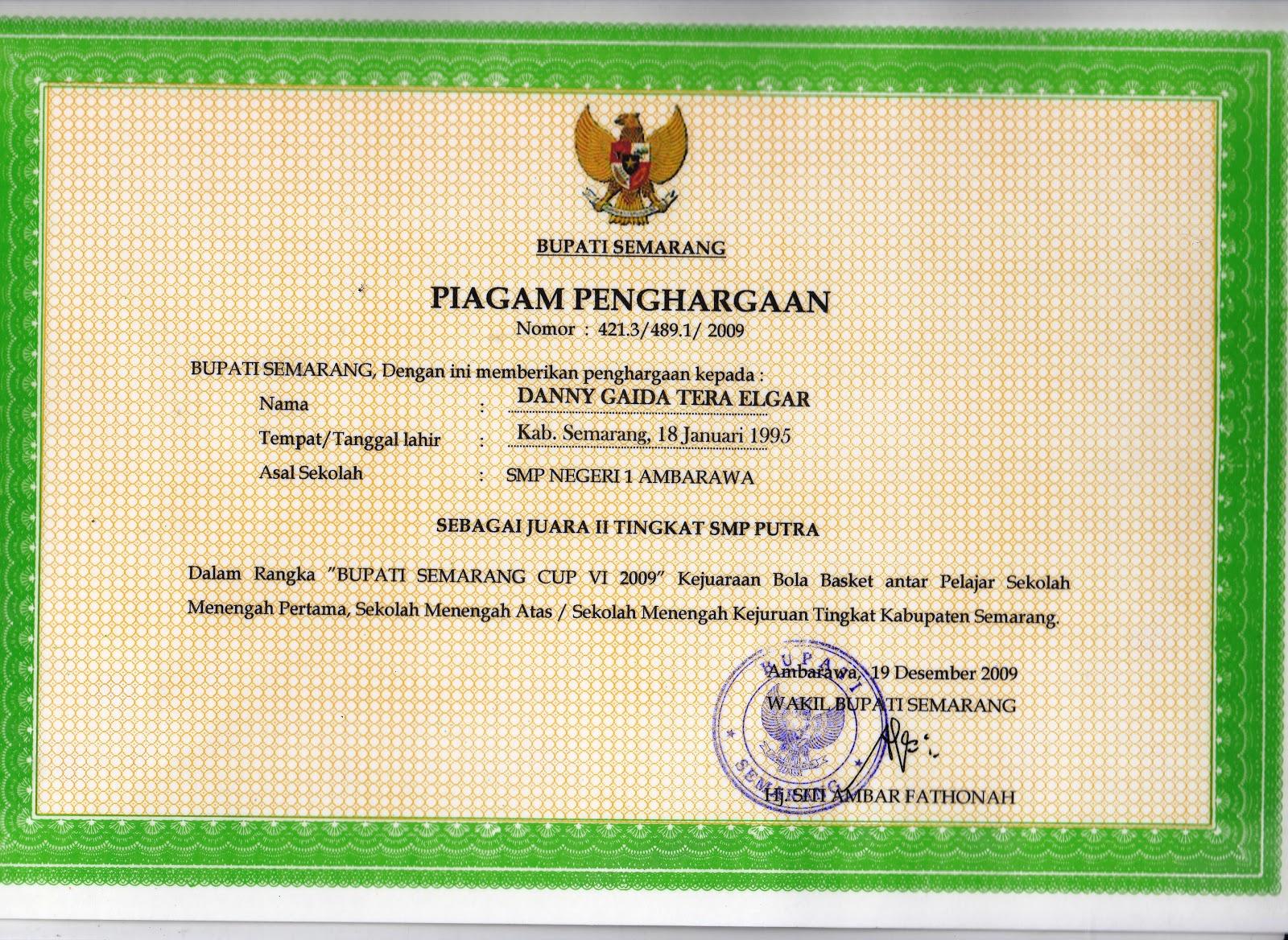Piagam Penghargaan Kejuaraan Bola Basket Tingkat Kabupaten Semarang (Desember 2009)