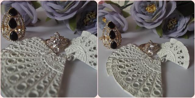 Brinco branco modelo rendado e anéis de cristal