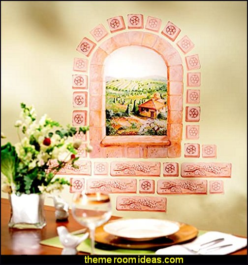 Tuscan Window Wall Sticker tuscan vinyard decorating tuscany style bedroom decorating ideas
