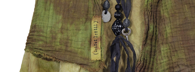 secret lentil cotton hand dyed scarf and silk and stone necklaces with skeleton key
