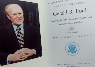 open book of Gerald Ford, 1975 edition. Features color photo of President Ford.