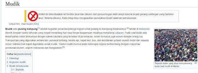 """Menghindari Vandalisme dan Perubahan Makna, Wikipedia Kunci Devinisi """"Mudik"""""""