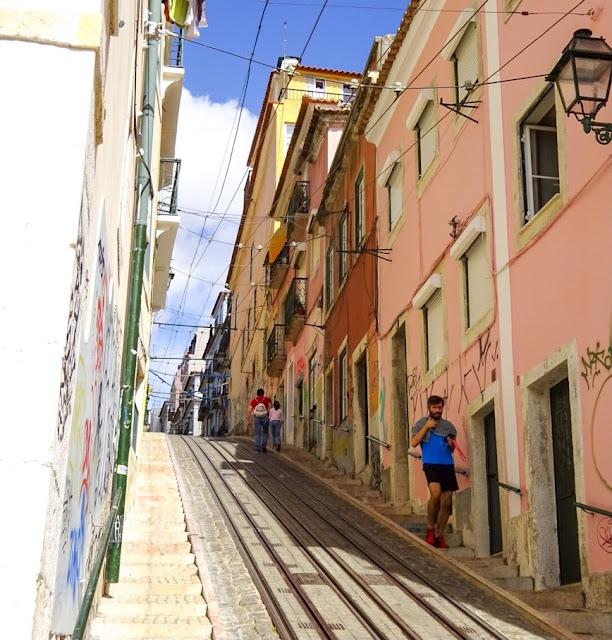 Steep Hill Tram Tracks Lisbon